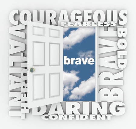 Brave and related words on a 3d white door opening to success, including terms like daring, courageous, valiant, heroic, confident and more photo