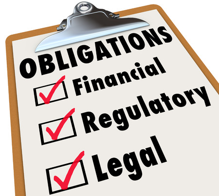 obliged: Obligations words on a clipboard checklist with marks in boxes for Financial, Regulatory and Legal words Stock Photo
