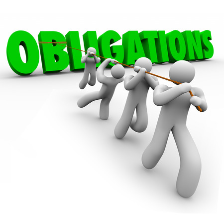 obliged: Obligations word in green 3d letters pulled up by a team of people working together to complete responsibilities or tasks