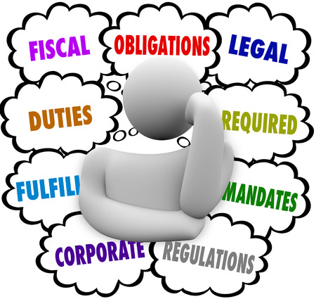 obliged: Obligations words in thought clouds above a thinker including fiscal, duties, fulfill, corporate, legal, required, mandate, regulations
