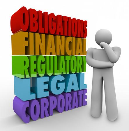 persona pensando: Obligaciones de las palabras 3d al lado de una persona que piensa de sus responsabilidades, incluyendo la financiera, regulatoria, legal y corporativa Foto de archivo