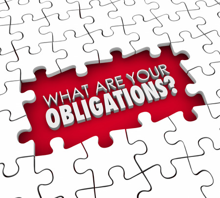 What Are Your Obligations question in 3d letters within a gap in a puzzle you must complete to meet your responsibilities