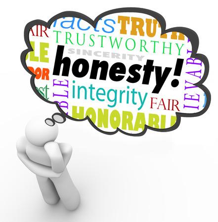 Eerlijkheid deugd woorden in een gedachte wolk boven een denkend persoon, inclusief termen zoals oprechtheid, integriteit, waarheid, oprechtheid en vertrouwen