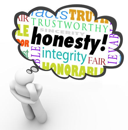 believable: Honesty virtue words in a thought cloud over a thinking person including terms such as sincerity, integrity, truth, candor and trust