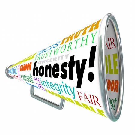 honestidad: La honestidad, la sinceridad, la integridad y otras buenas palabras de la virtud en un megáfono o megáfono construcción de su reputación