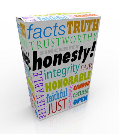 trustworthiness: Honesty and related virtues on a product box or package for instant reputation building, including sinerity, trustworthiness, honor, candor and integrity