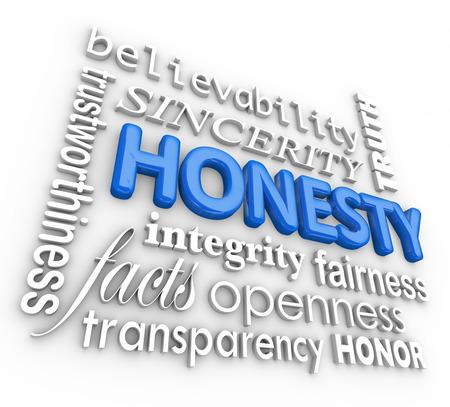 Onestà e relative parole 3D, tra cui la sincerità, credibilità, integrità, apertura, trasparenza, verità, correttezza e altre virtù che costruiscono la reputazione