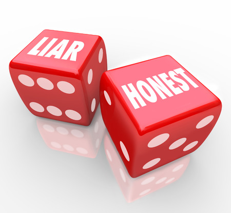 deceit: Honest and Liar words on two red dice opposite words difference between sincerity and deceit or dishonesty Stock Photo