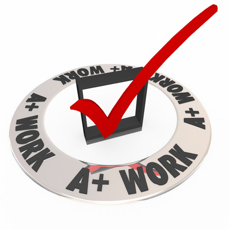 A Plus Work words around a check mark and box grading or scoring your job or performance photo