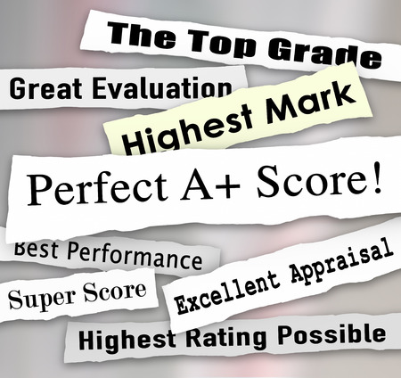 Perfect A Plus score on headlnes ripped from newspapers and top ratings, reviews and results photo