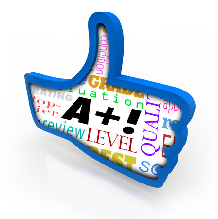 appraise: A Plus words as perfect score or grade on a blue thumbs up sign or symbol Stock Photo