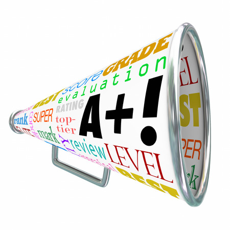 A Plus words on a bullhorn or megaphone telling everyone of your great score, grade or evaluation photo