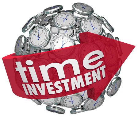 Time Investment words on a red arrow around a ball or sphere of 3d clocks illustrating importance of managing your time resources Stock Photo
