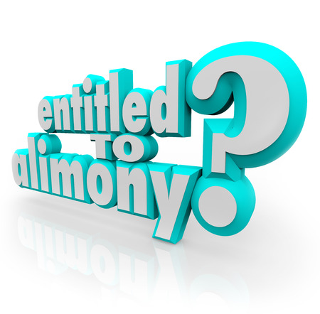 Entitled to Alimony 3d words as question for divorce lawyer or attorney who will fight to get you spousal support you deserve from ex husband or wife photo