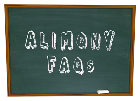 financial questions: Alimony FAQs words on a chalkboard as answers to questions on financial spousal support for ex husbands or wives in divorce