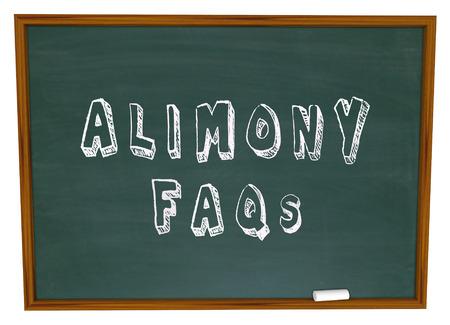 Parole Alimenti FAQ su una lavagna le risposte alle domande sul sostegno sponsale finanziario per gli ex mariti o mogli in divorzio