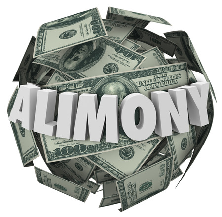 divorce court: Alimony word in white 3d letters on a ball or sphere of money to illustrate financial spousal support of ex husband or wife