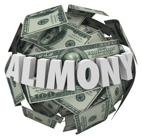 divorcio: Pensión alimenticia palabra en letras blancas 3d en una bola o esfera de dinero para ilustrar la manutención del cónyuge financiera del ex esposo o esposa Foto de archivo