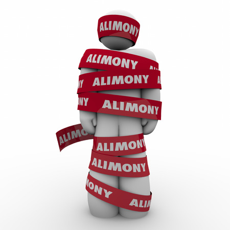 alimony: Alimony word on red tape wrapped around ex husband owing spousal support to wife as legal settlement and financial obligation Stock Photo