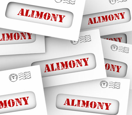 mandated: Alimony words on many envelopes as legally required or agreed upon financial obligation and spousal support to ex husband or wife Stock Photo