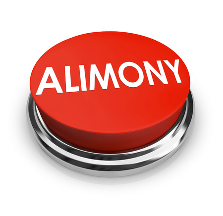 mandated: Alimony word on a red 3d button to get legal help from attorney in seeking spousal support or reduction in amount of payments Stock Photo