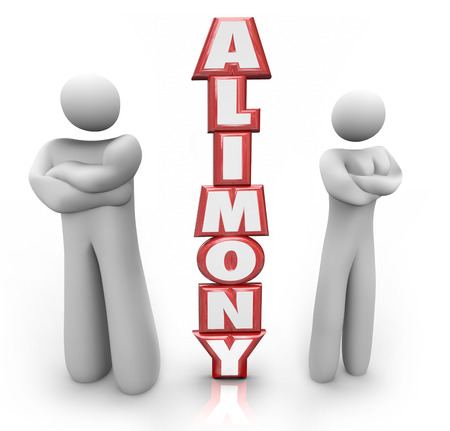 mandated: Alimony word in red 3d letters between a divorced couple ex husband and wife in dispute over spousal support amount of money to be paid Stock Photo