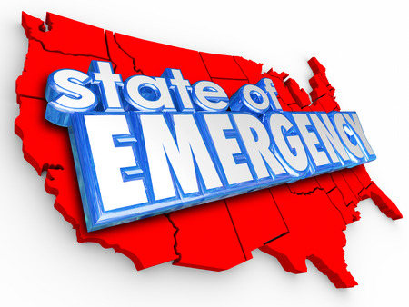 catastrophic: State of Emergency 3d words on United States of America map to illustrate a national crisis or disaster for the country