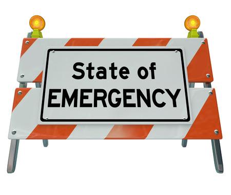 道路建設バリケードまたは危険な危機、問題または障害を示す警告のサインに緊急ワードの状態が先