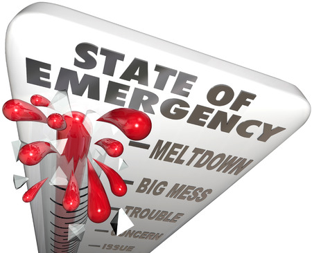meltdown: State of Emergency words on a 3d thermometer measuring the high level of crisis, urgent problem or trouble Stock Photo