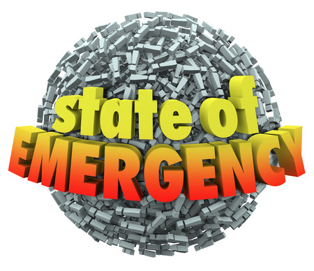 catastrophic: State of Emergency words in 3d letters on a ball or sphere of exclamation points or marks to illustrate a catastrophe or big problem