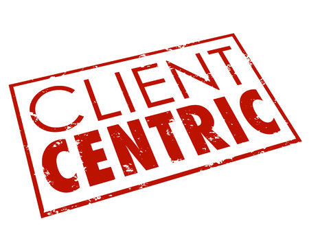 centering: Client Centric words in red stamped seal or icon for a company or business dedicated to putting customer needs first as top priority Stock Photo