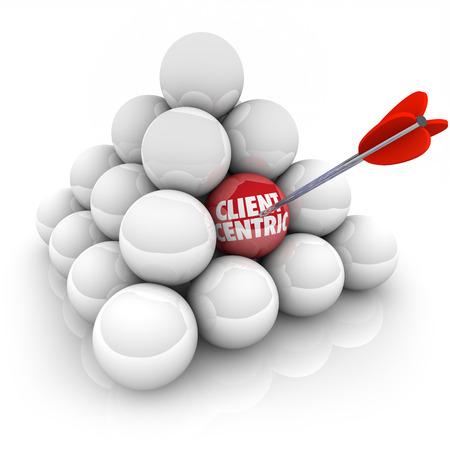 矢印がある対象にお客様重視の会社を置く満足度とサービスの最優先事項としてピラミッドにボールにクライアント中心の言葉