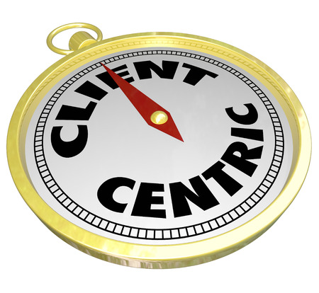 centering: Client Centric words on a golden compass pointing toward full customer service and satisfaction Stock Photo