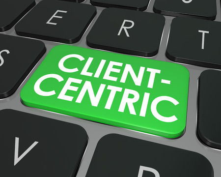 centric: Client Centric words on green computer keyboard button for internet or online business focused on needs of customers