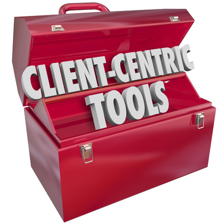 centering: Client-Centric Tools words in 3d letters in a red metal toolbox as resources to help you serve your customers better Stock Photo