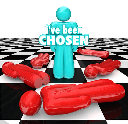Ive Been Chosen 3d words on a blue chess person or piece as last one standing, winner or selected individual approved for prize, new position or job Stock Photo