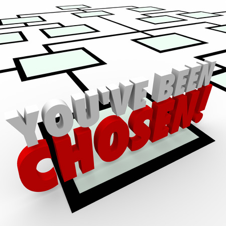 chosen: Youve Been Chosen 3d words on an organization chart finding an employee selected for a promotion to a higher ranking position Stock Photo