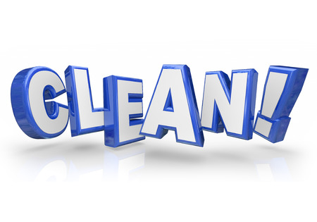 inspected: Clean word in 3d blue letters illustrating you are tidy, inspected and approved with high cleanliness