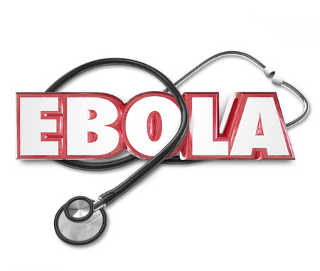 ebola: Ebola word in red 3d letters on a doctors stethoscope to illustrate health care treatment of disease ror virus