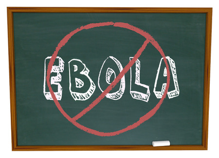 curing: No Ebola words on chalkboard to illustrate curing or stopping the disease or virus Stock Photo