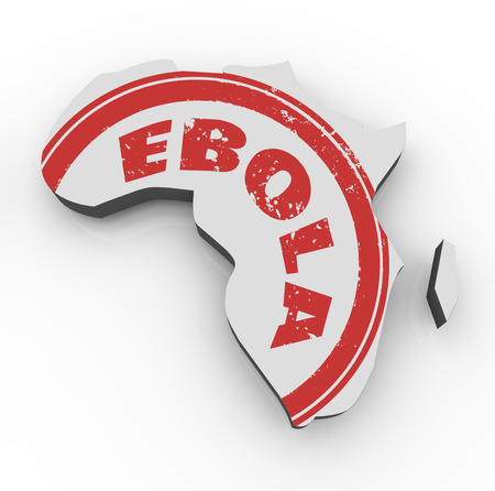 critical conditions: Ebola word in red stamp on a 3d map of Africa as disease or virus spreads