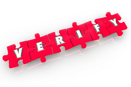 Verify word on red 3d puzzle pieces to confirm, inspect or prove a document or fact is true