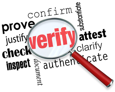 Verify word under magnifying glass and related terms like prove, justify, confirm, attest, clarify, authenticate, document, inspect and check Stock Photo