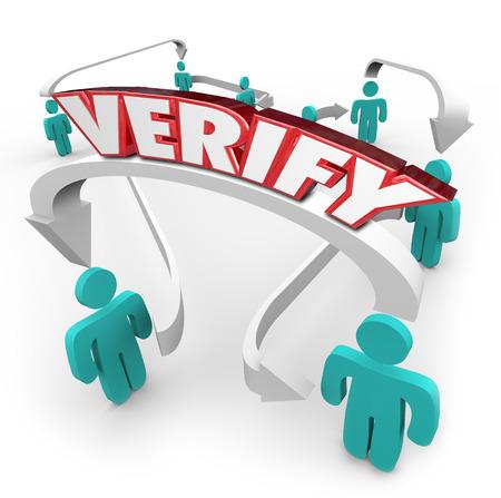 verify: Verificare 3d parola in lettere rosse su una freccia tra le persone collegate in una rete