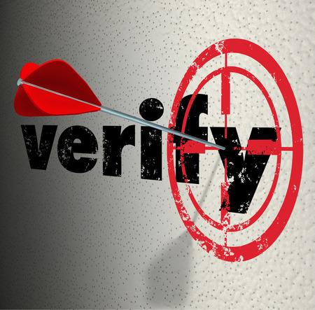 verify: Verifica parola su una parete con destinazione tori-eye e freccia che colpisce il centro di certificare, confermare o dimostrare un fatto