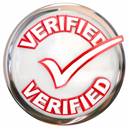 confirmed verification: Verified word and check mark on a round shiny button as certification or approval Stock Photo