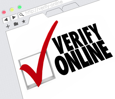 Verify Online words and check mark and box on an Internet website or online resource 写真素材