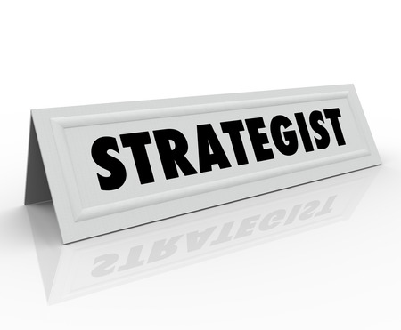 panelist: Strategist word on a name tent card for a conference speaker, panelist, or guest presenter at a seminar or other public speaking event
