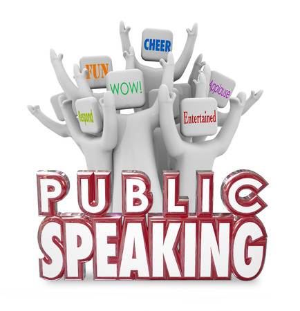public speaker: Public Speaking 3d words and cheering crowd enjoying a speech from a popular guest panelist or expert at a conference, meeting or special event Stock Photo