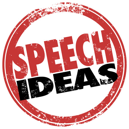 Speech Ideas words in a red round stamp as suggestions, help or advice for a public speaker at a meeting or event photo